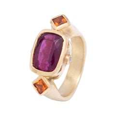 Red Rubellite Tourmaline and Spessartite Garnet Ring