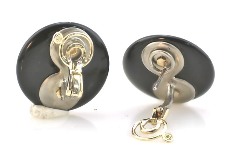 Red Rubrum Coral  Diamond Onyx Disks Titanium Gold Earrings In New Condition For Sale In Valenza , IT