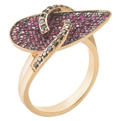Red Ruby and Black Diamond Ring in 18 Karat Gold