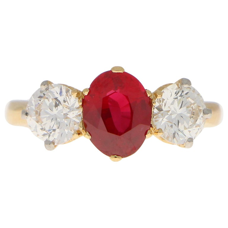 Red Ruby and Diamond Three-Stone Engagement Ring Set in 18 Karat Yellow Gold For Sale