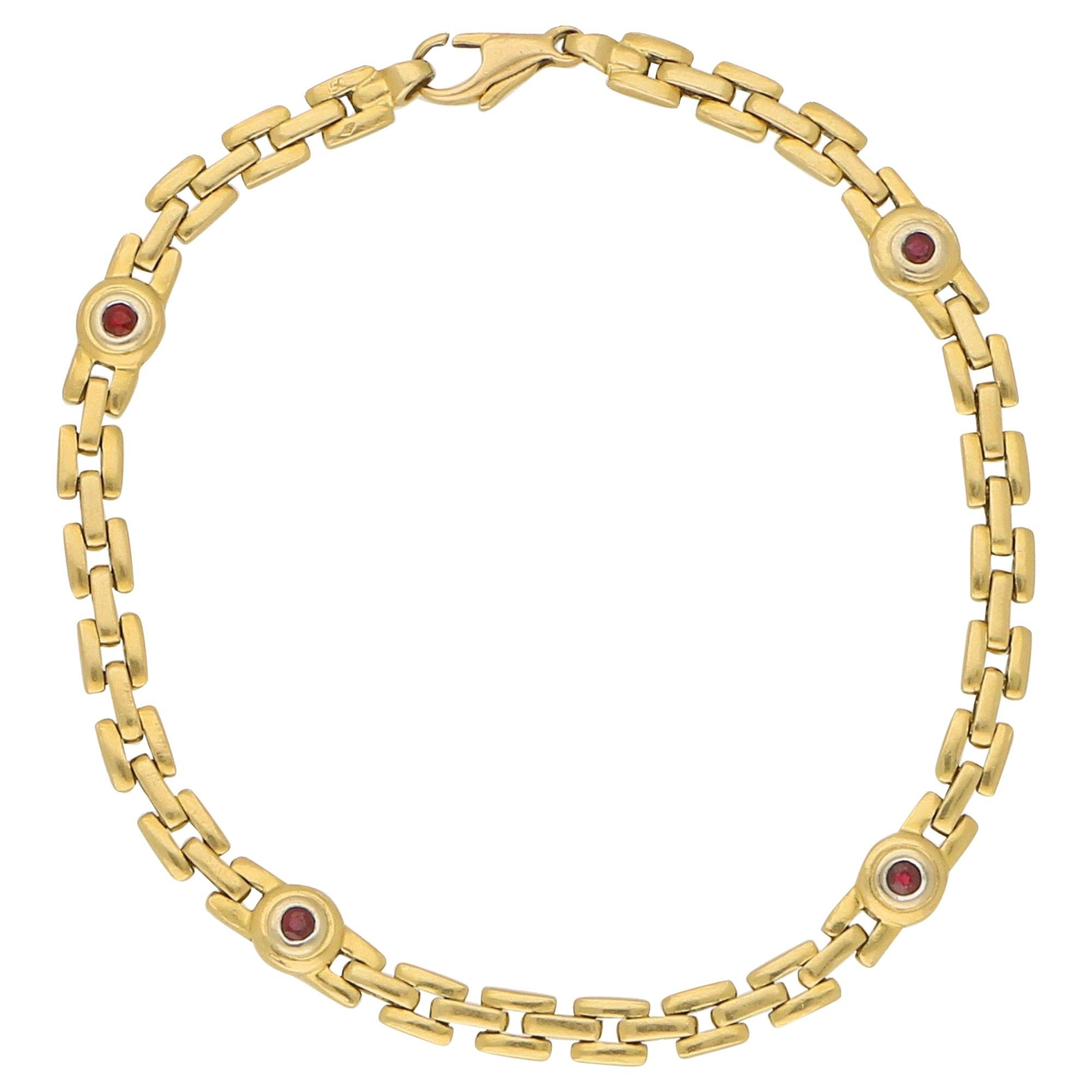 Red Ruby Chain Link Bracelet Set in 18 Karat Yellow Gold