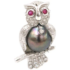 Red Ruby Eyed Tahitian Pearl Diamond Owl on Branch 18 Karat Gold Brooch