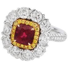 Red Ruby Fancy Diamond 18 Karat Gold Cocktail Ring