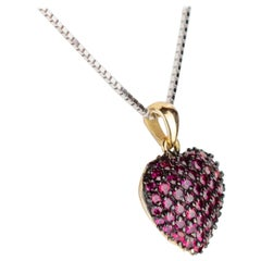 Red Ruby Heart Pendant 18 Karat White Gold Chain Handmade Intini Jewels Necklace