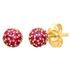 Red Ruby July Birth Stone Disco Ball Earrings, Gold, Ben Dannie