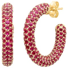 Red Ruby July Birthstone Gemstone Pave Hoop Earrings, Gold, Ben Dannie