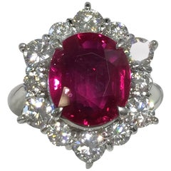 Red Ruby Oval and Diamond Round Platinum Cocktail Ring