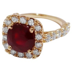 Red Ruby Ring with Diamonds in Yellow Gold
