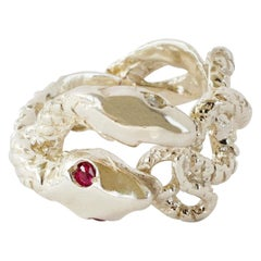 Red Ruby White Diamond Snake Cocktail Statement Ring Silver Open Adjustable