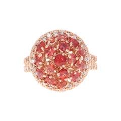 Red Sapphire Diamond 14 Karat Rose Gold Cocktail Ring