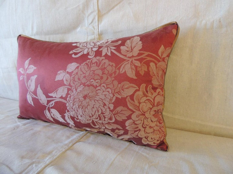 Red satin cotton modern Lumbar decorative pillow. Floral damask style pillow with small ATG custom golden silk trim, same silk on backing. Decorative pillow handcrafted in Portugal. Stitched by hand closure with custom-made pillow insert. Size: