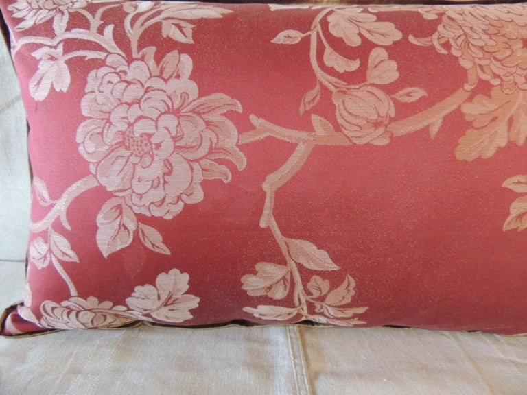 Country Red Satin Cotton Modern Lumbar Decorative Pillow For Sale