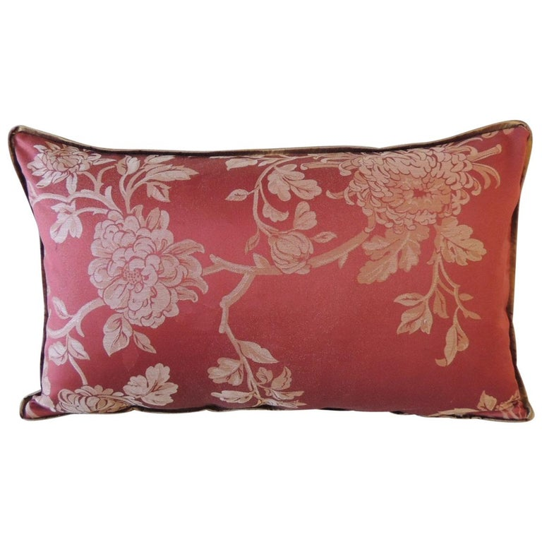 Red Satin Cotton Modern Lumbar Decorative Pillow For Sale
