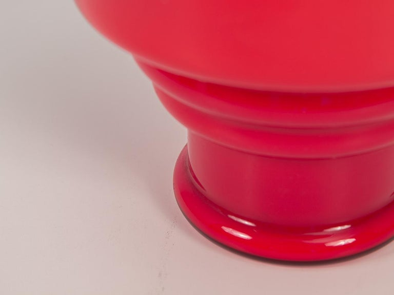Mid-Century Modern Red Scandinavian Hooped Glass Bowl For Sale