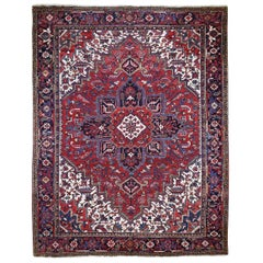 Red Semi Antique Heriz Good Condition Pure Wool Hand Knotted Oriental Rug