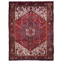 Red Semi Antique Persian Heriz Excellent Condition Hand Knotted Oriental Rug