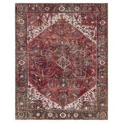 Red Semi Antique Persian Heriz Full Pile Flower Oriental Rug