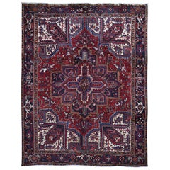 Red Semi Antique Persian Heriz Geometric Design Thick and Plush Hand Knotted