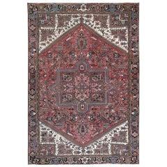 Red Semi Antique Persian Heriz Organic Wool Oriental Rug