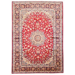 Red Semi Antique Persian Isfahan Pure Wool Hand Knotted Oriental Rug