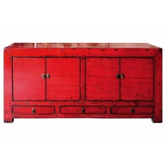 Red Shandong Sideboard