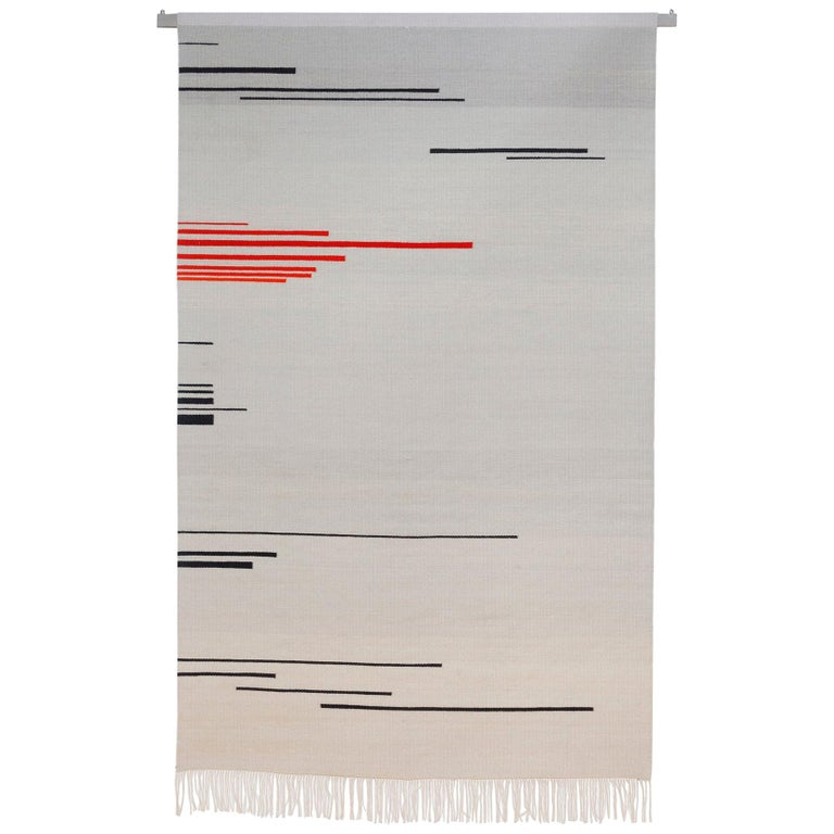 """""""Red Shift 1"""" Red and Grey Toned Handwoven Wool Rug Kilim or Tapestry For Sale"""