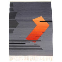Contemporary Handwoven Wool Rug Red and Grey Toned Kilim or Tapestry