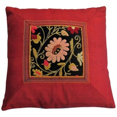 Red Silk Cushion or Pillow with Hand Embroidered Woolwork Floral Panel