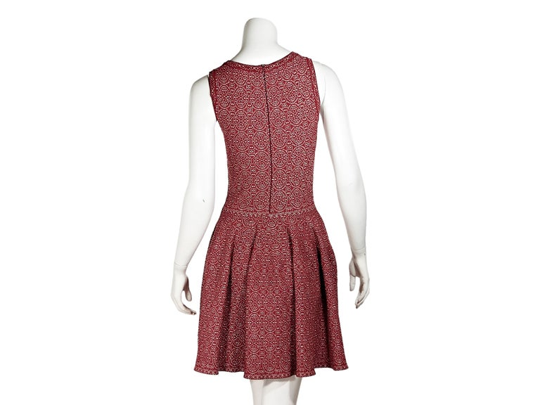 Brown Red & Silver Alaia Printed Fit-and-Flare Dress For Sale