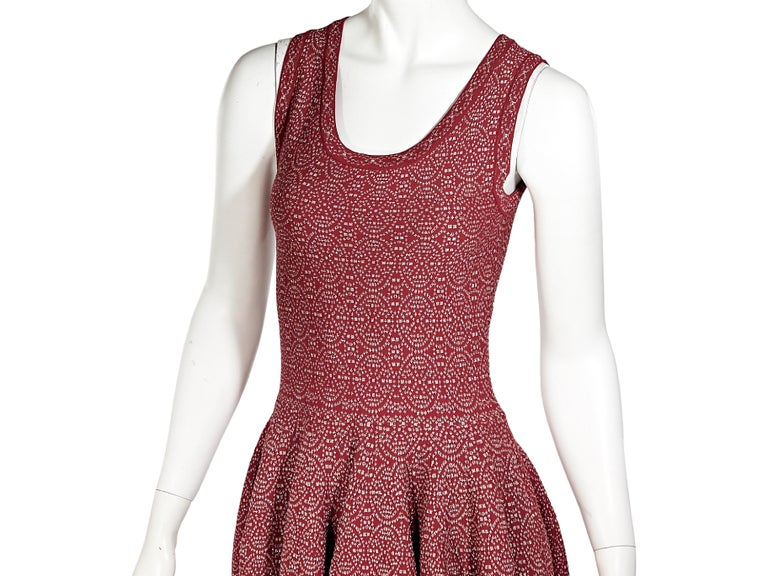 Red & Silver Alaia Printed Fit-and-Flare Dress In Good Condition For Sale In New York, NY
