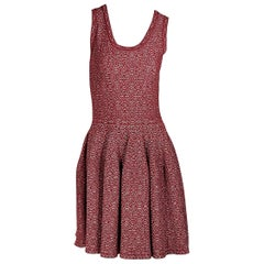 Red & Silver Alaia Printed Fit-and-Flare Dress