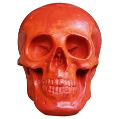 Red Skull Sculpture in Blackened Glass Paste