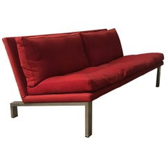 1965, Dick Lookman for Bas van Pelt, Rare Red Sofa, Beautiful Chrome Base