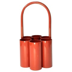 Red Space Age Bottle Caddy, Carrier, 1960s