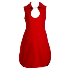 Red Space-Age Pierre Cardin Prototype Cutout Tabard Dress w Provenance-S-M, 1969