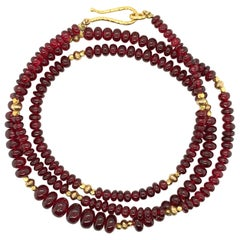 Red Spinel Bead Graduated Strand Necklace with Yellow Gold Spacers, 21 Inches