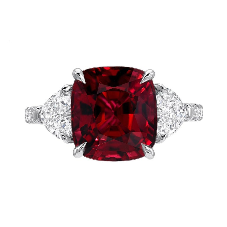 Burma Red Spinel Ring Cushion Cut 5.05 Carats AGL Certified In New Condition For Sale In Beverly Hills, CA