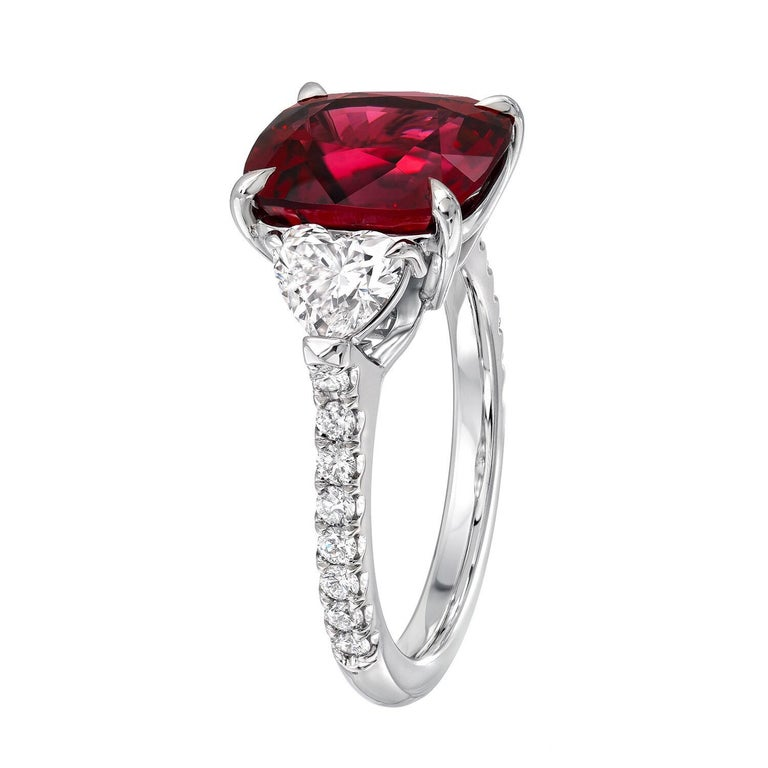 Women's Burma Red Spinel Ring Cushion Cut 5.05 Carats AGL Certified For Sale