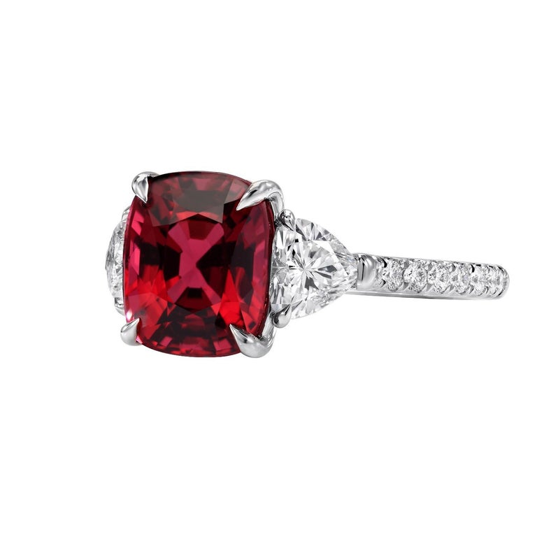 Modern Burma Red Spinel Ring Cushion Cut 5.05 Carats AGL Certified For Sale