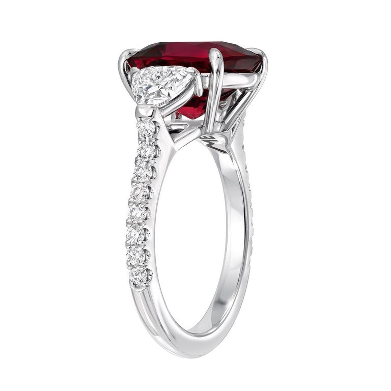 Burma Red Spinel Ring Cushion Cut 5.05 Carats AGL Certified For Sale 1