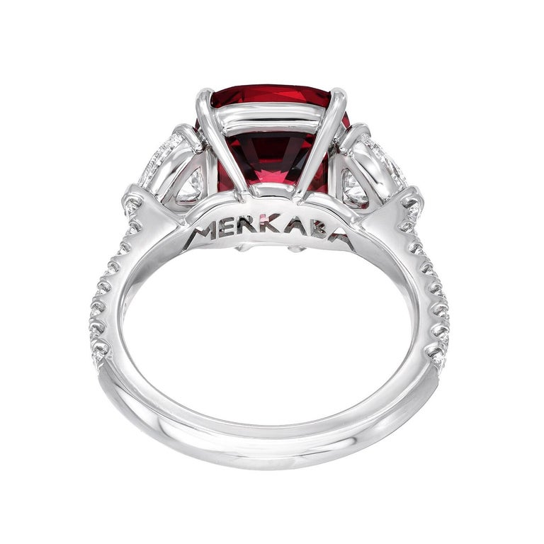 Burma Red Spinel Ring Cushion Cut 5.05 Carats AGL Certified For Sale 2