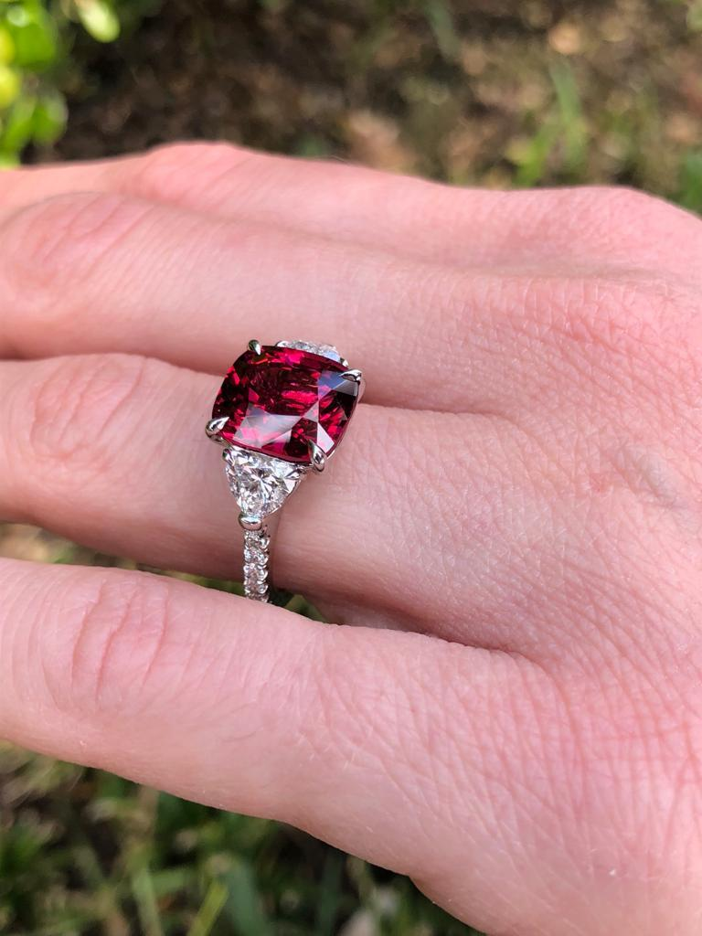 Burma Red Spinel Ring Cushion Cut 5.05 Carats AGL Certified For Sale 4