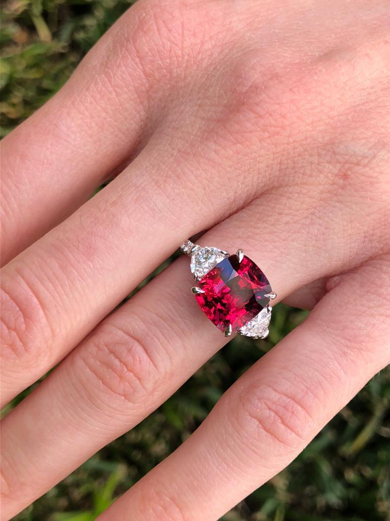 Burma Red Spinel Ring Cushion Cut 5.05 Carats AGL Certified For Sale 5