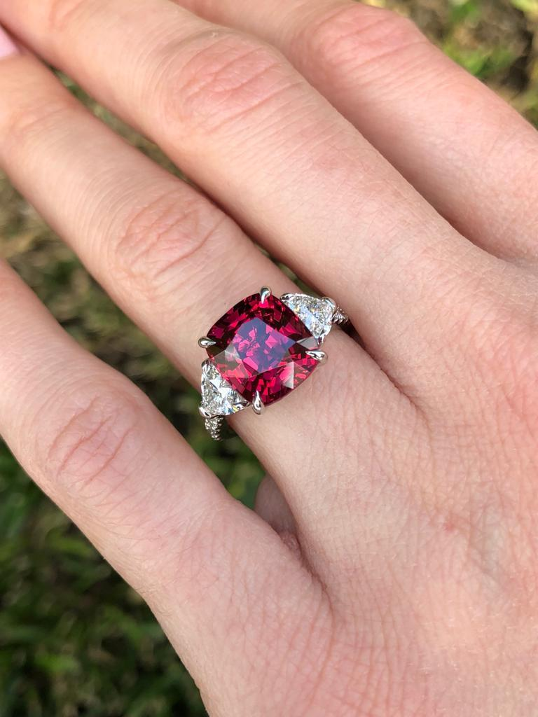 Burma Red Spinel Ring Cushion Cut 5.05 Carats AGL Certified For Sale 3