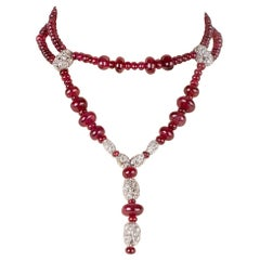 Red Spinel Necklace with Diamonds