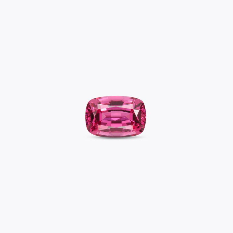 Bright 1.33 carat Red Spinel cushion gem, offered loose to a fine gem collector. Returns are accepted and paid by us within 7 days of delivery. We offer supreme custom jewelry work upon request. Please contact us for more details. For your