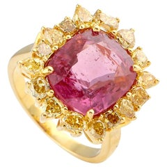 Red Spinel Ring with Yellow Diamonds in 18 Karat Yellow Gold