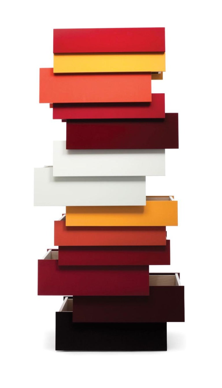 Organic Modern Red Stack Cabinet by Shay Alkalay and Raw Edges, Established & Sons, UK, 2008 For Sale