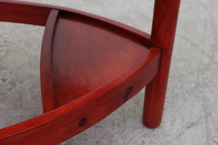 Red Stained Wim Den Boon Style Tri-Pod Rush Chair 5