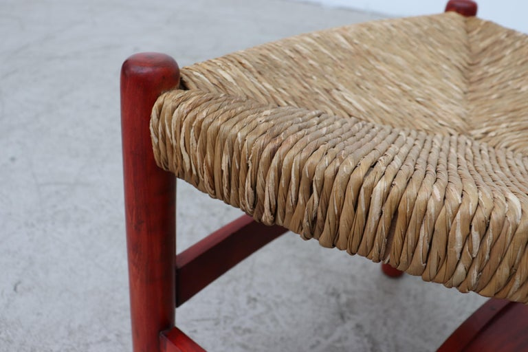Red Stained Wim Den Boon Style Tri-Pod Rush Chair 8